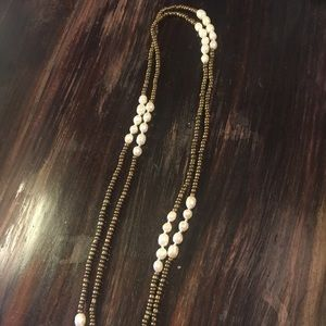 Gold Sea glass beads & REAL misshapen pearl neck-